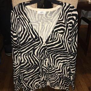 Ann Taylor Loft Zebra Cardigan, Women's Large